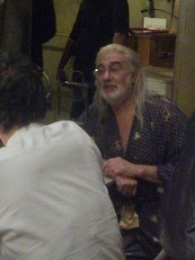 """Placido Domingo being interviewed before the show begins: Opening night of """"I Due Foscari"""" at LA Opera (photo by CK Dexter Haven)"""