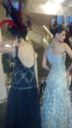 """A view from the back -- Brandise Danesewich & Linda Taylor in dresses designed by Sue Wong: Opening night of """"I Due Foscari"""" at LA Opera (photo by CK Dexter Haven)"""