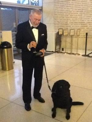 """A gentleman and his guide dog: Opening night of """"I Due Foscari"""" at LA Opera (photo by S. Williams for LA Opera)"""