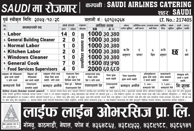 Vacancy in Saudi Airlines Catering