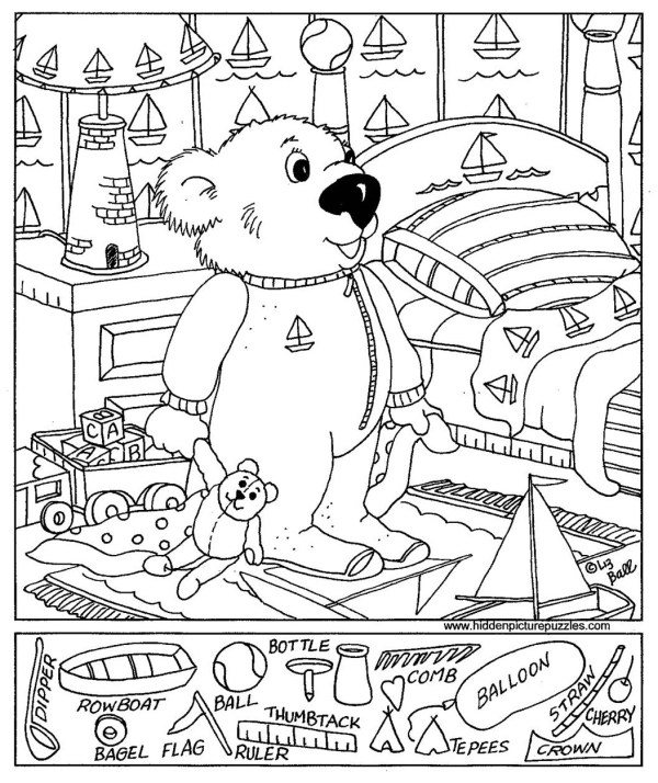 Easy Hidden Object Printables Sketch Coloring Page
