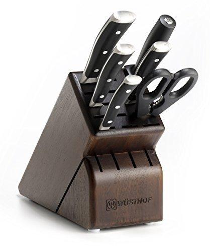 wusthof classic ikon 7 piece walnut block knife set