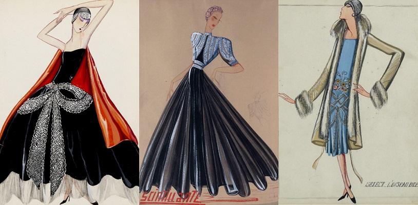 Trois dessins tirés d'un album de ses créations, vers 1925. © Collection Palais Galliera / Katerina Jebb, 2014 / Patrimoine Lanvin