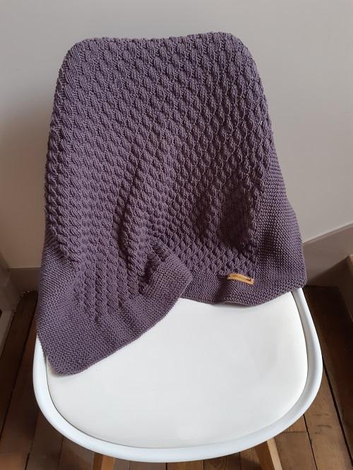 tuto tricot couverture bébé Yolande 14