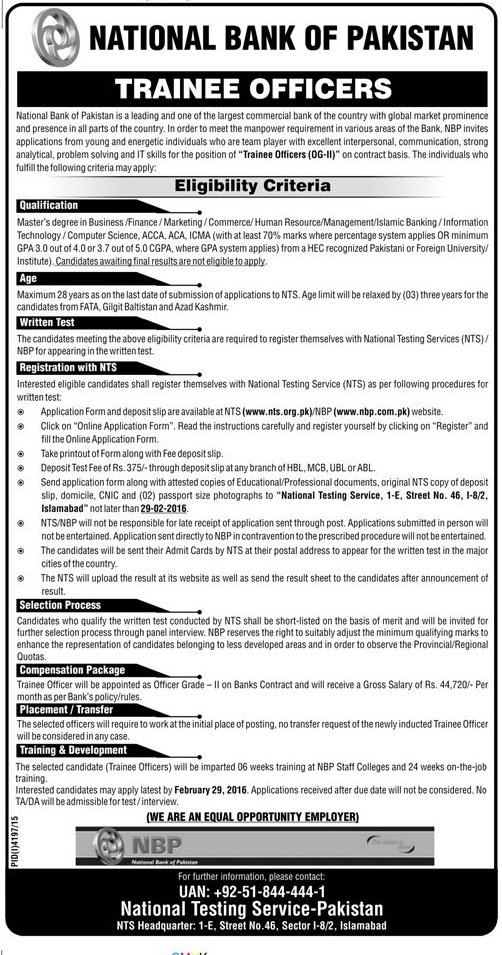 NBP Trainee Officers OG-2 Jobs NTS Written Test Syllabus Schedule