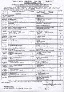 BZU Date Sheet 2016