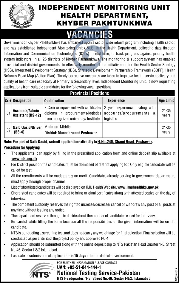 Kpk Health Department Imu Accounts Admin Assistant Jobs Nts Test