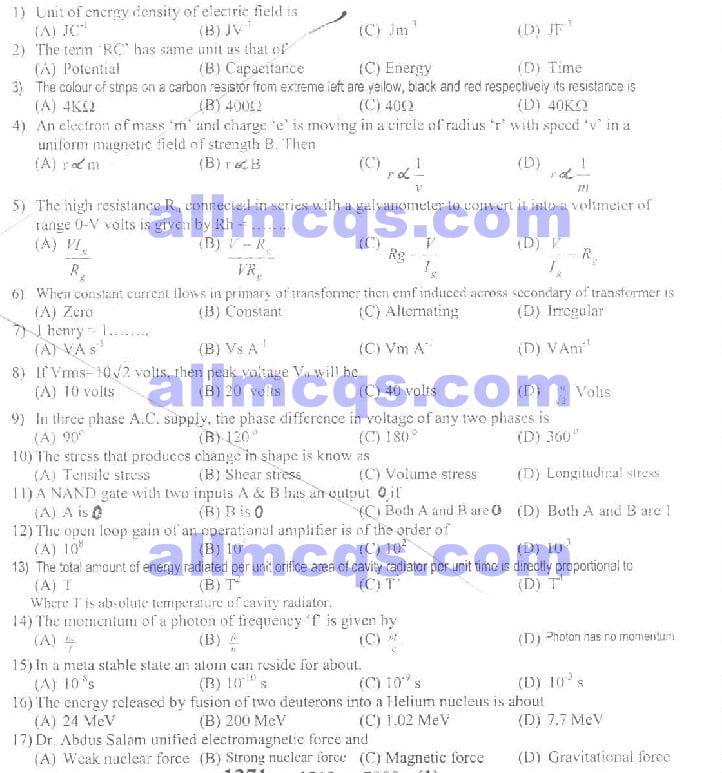 Intermediate Part-2 FSc Physics Chemistry Biology English Solved