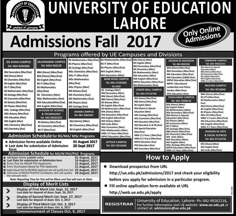 University of Education Lahore Main and other all Campus