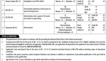 Survey of Pakistan Technical Assistant Technician Jobs PTS