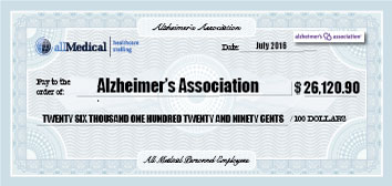 Large mock check for the Alzheimers Association