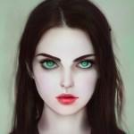 Portrait einer jungen Frau mit großen, grünen Augen, dunklen Haaren und einem kleinen, herzförmigen Mund. Sie über-erfüllt ein gesellschaftliches Schönheitsideal und doch wirkt sie und ihr durchdringender Blick unheimlich.