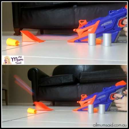 Boy playing with NERF Nitro longshot smash | action shot