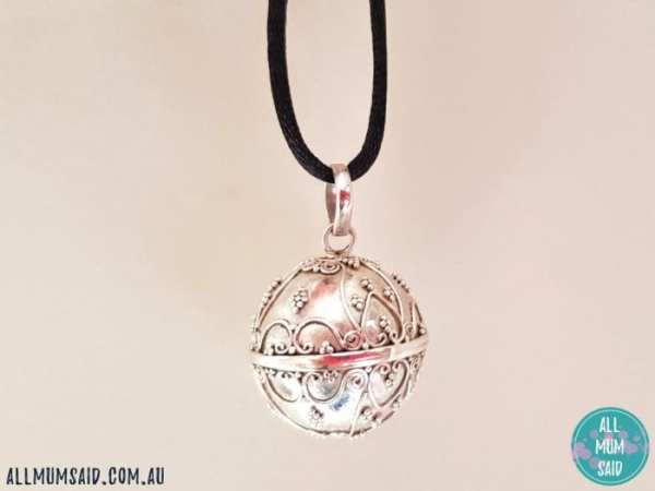 Oh my giddy aunt harmony ball necklace close up