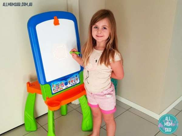 VTech review - young girl using creativity easel