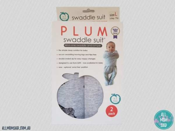 Plum swaddle suit in packet