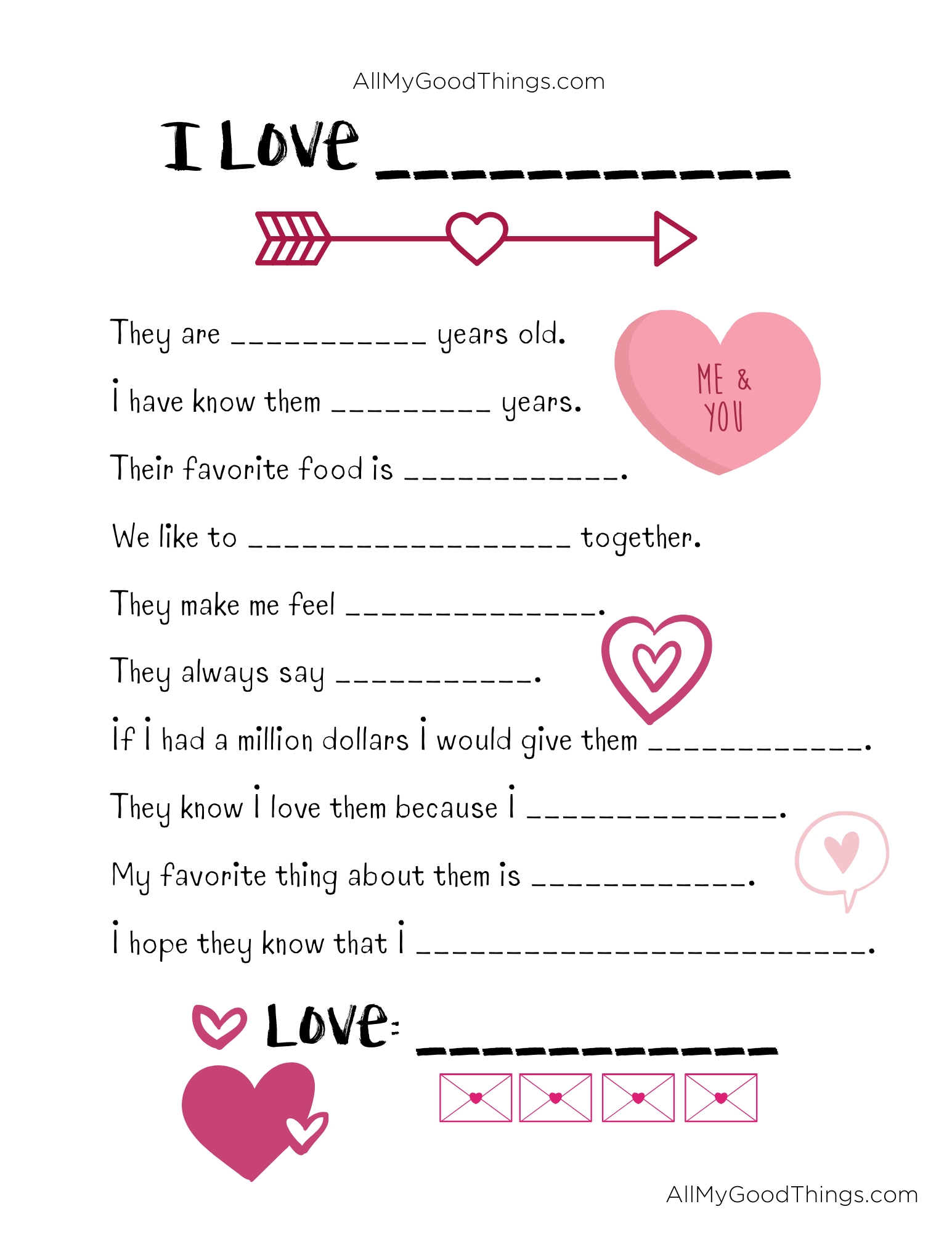 Free Valentine S Day Printable Questionnaire