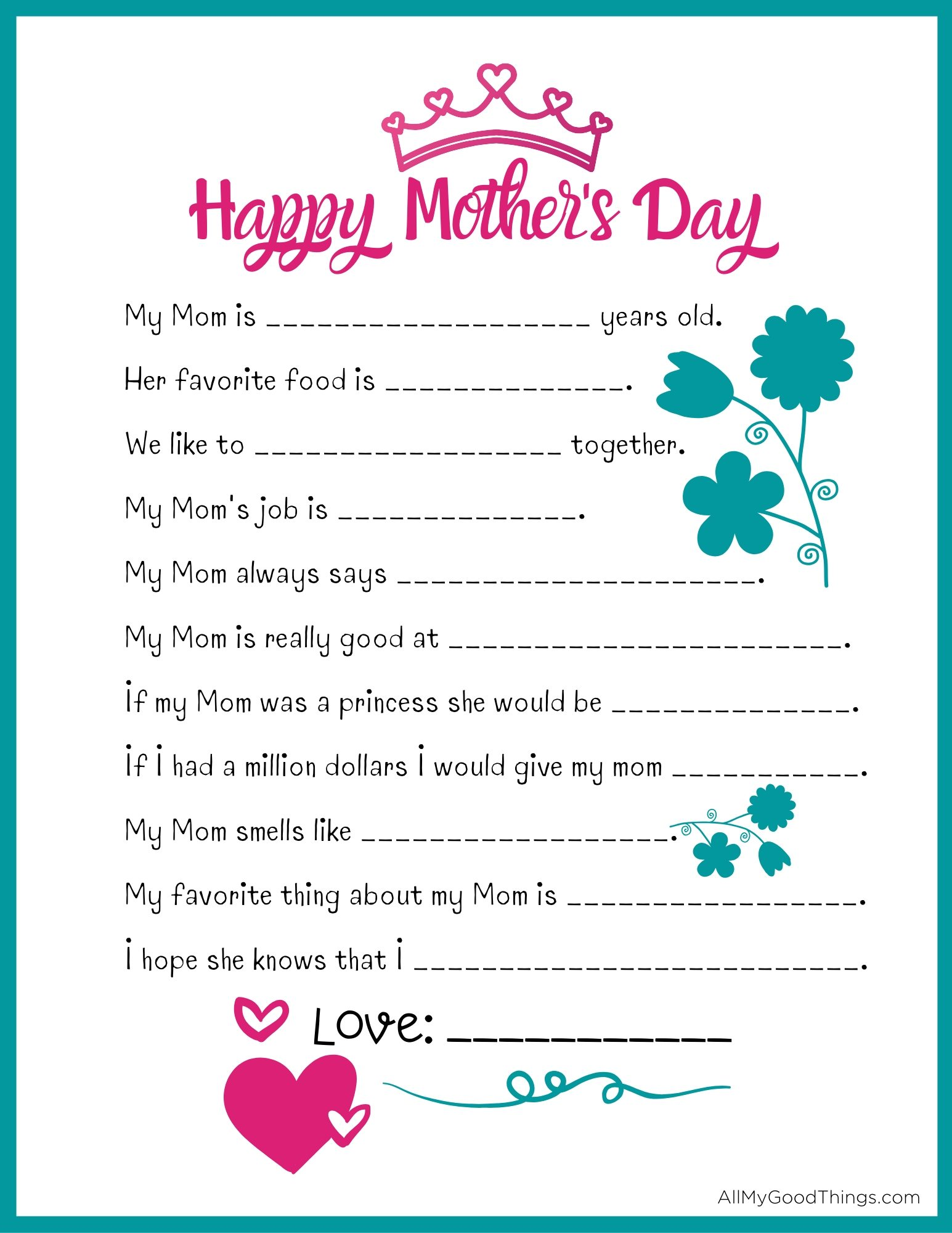 Mother S Day Printable Questionnaire