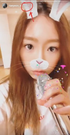 My bunny Taeng was practising her singing at the practice room 39 minutes ago