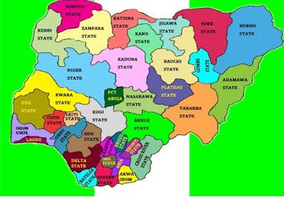 Nigerian States Flag Map
