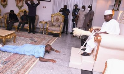 Davido Prostrates During Visit To Oniru