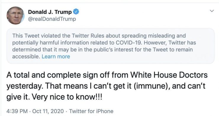 Donald Trump's flagged tweet