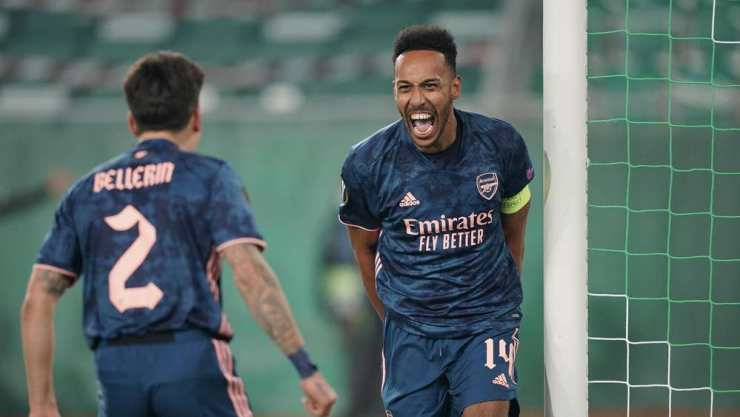 Aubameyang scores against Rapid Vienna