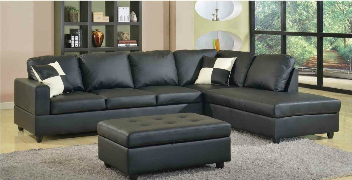 f22b black bonded leather sectional with storage ottoman