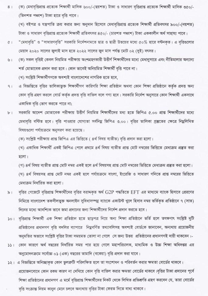 dhaka board ssc scholarship result 2020