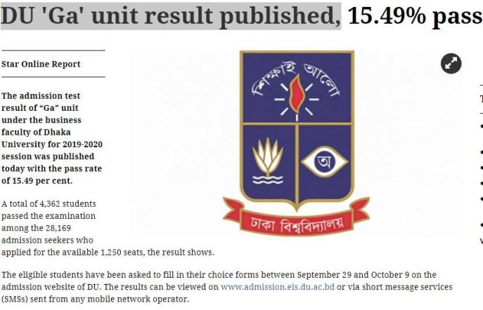 DU 'Ga' unit result published,