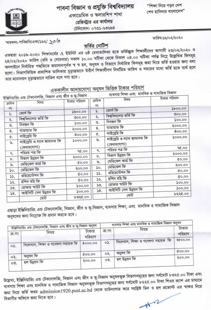 PUST A and B Unit 6th Subject Choice Result