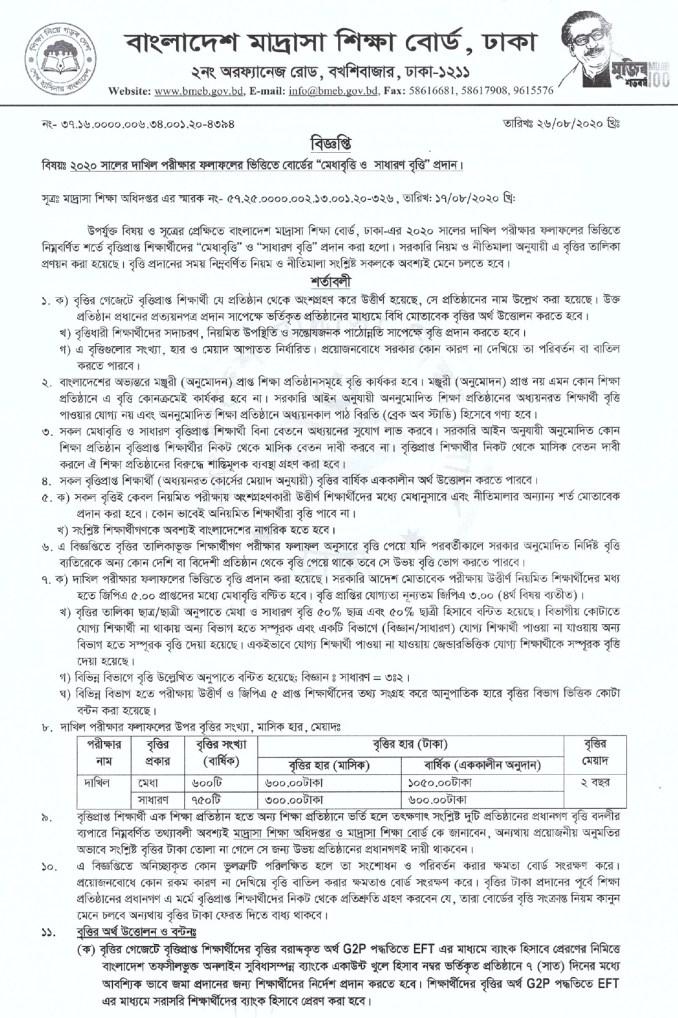 dakhil scholarship result 2020 (1)