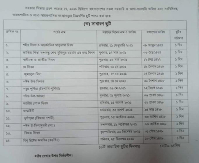Govt Holiday 2021 Bangladesh