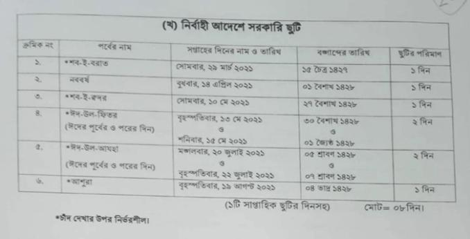 Holiday 2021 Bangladesh