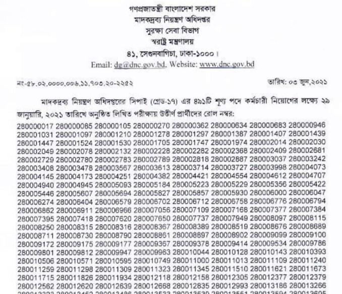 dnc written exam result 2021