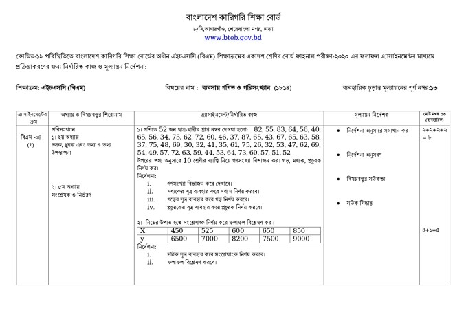 hsc bm business mathematics and statistics assignment answer 2021