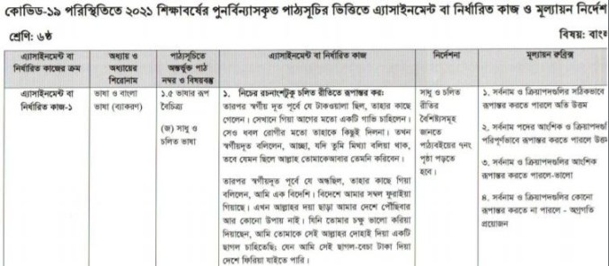 class 6 bangla assignment answer