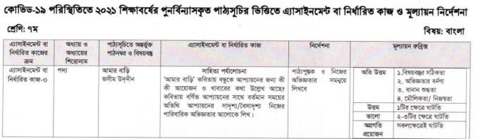 class 7 bangla 9th week assignment 2021