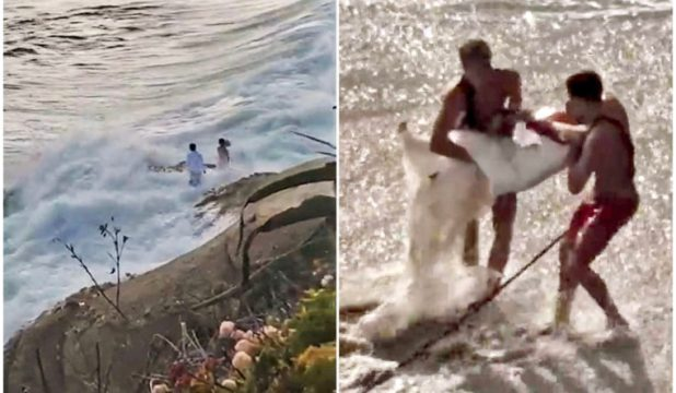 Shocking Moment Huge Waves Swept Newlyweds Into The Sea While ...