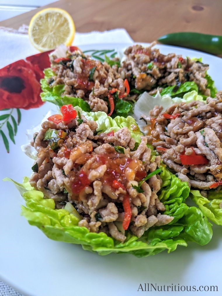 Ketogenic Sweet Chili Pork Lettuce Wraps