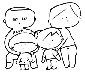産後、家族と実母が見守ってくれている図
