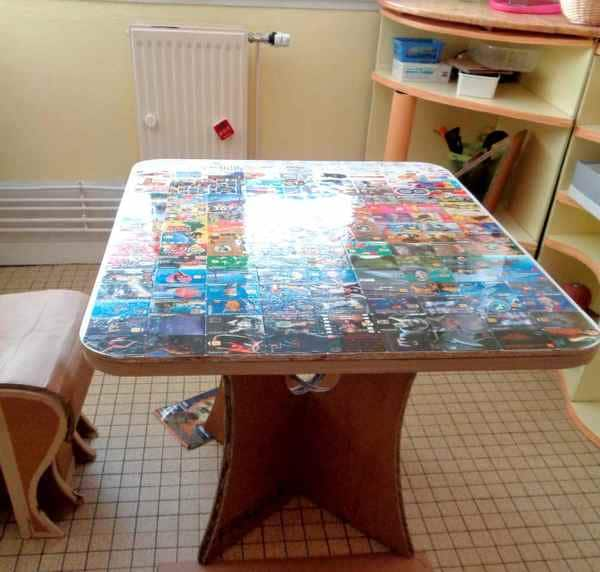 DIY table en carton, une table entièrement fait main.