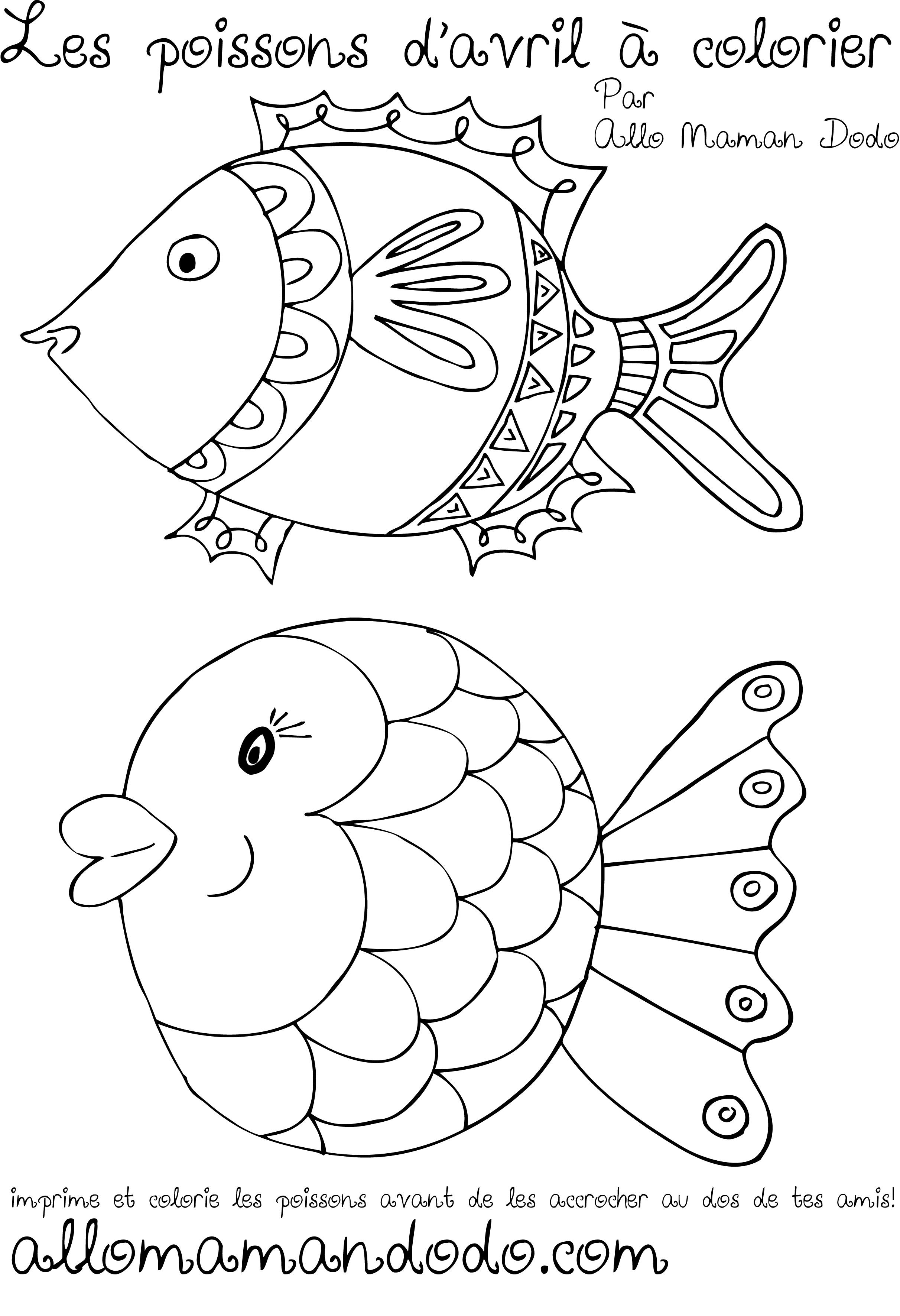 Des poissons imprimer colorier et accrocher poisson d 39 avril allo maman dodo - Dessin a colorier poisson d avril ...