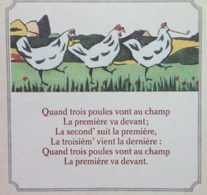 paroles quand trois poules vont au champ