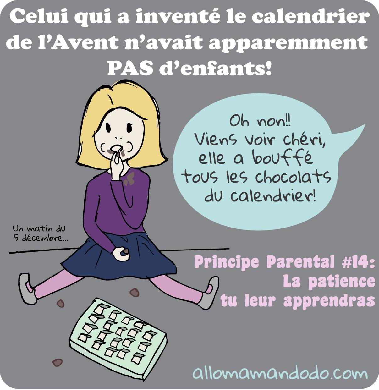 Calendrier De Lavent Humour.Principe Parental 14 La Patience Tu Leur Apprendras