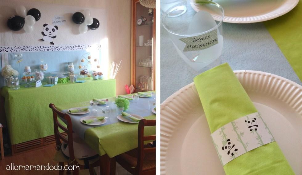 table d'anniversaire theme panda
