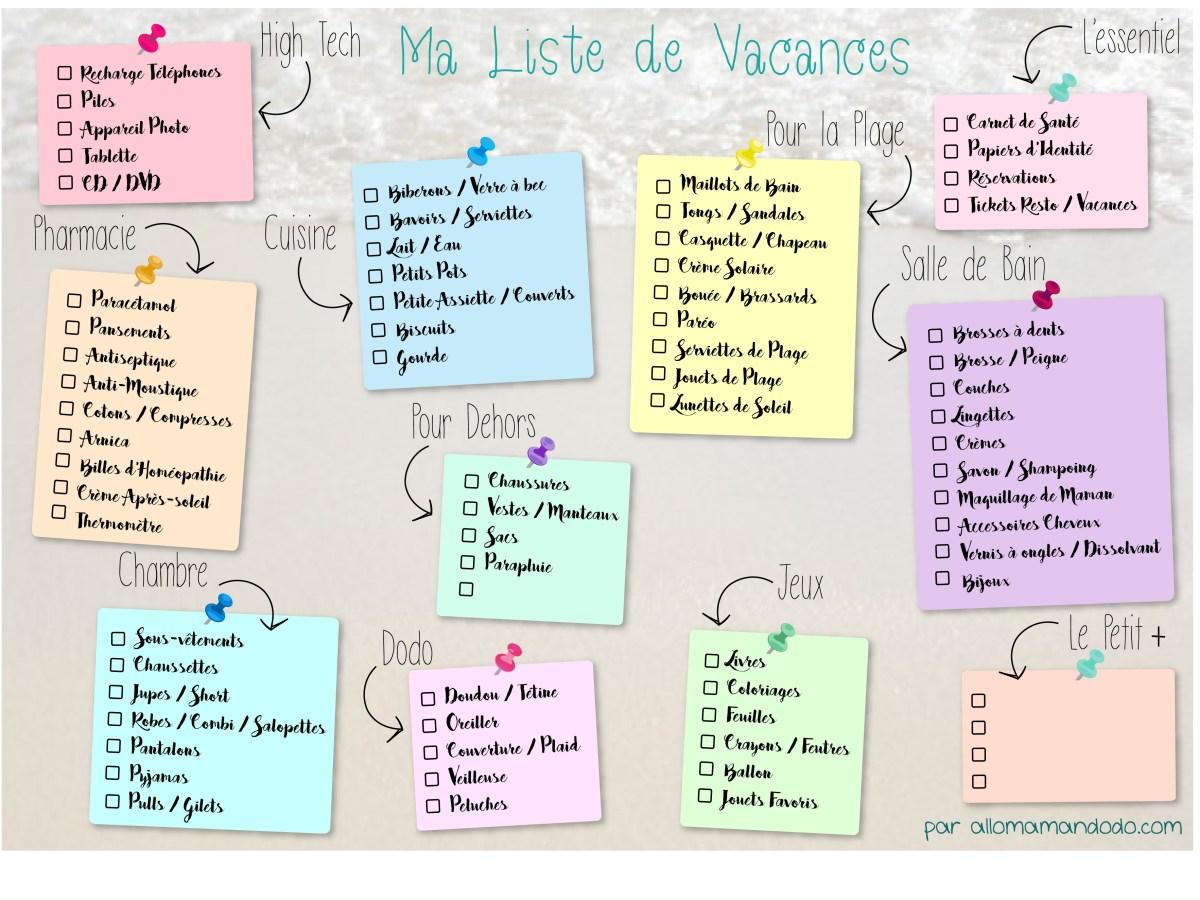 La Check-List des Vacances (THE Liste à imprimer pour mieux faire ses valises!)