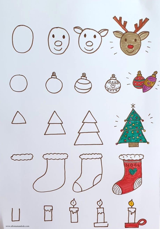Apprendre A Dessiner Noel Fiches Etapes Dessin A Imprimer Allo Maman Dodo