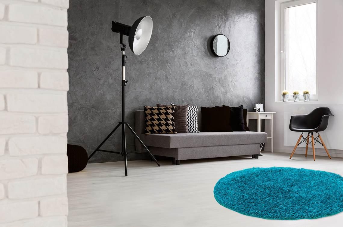 tapis rond en polyester doux shaggy bleu petrole wow