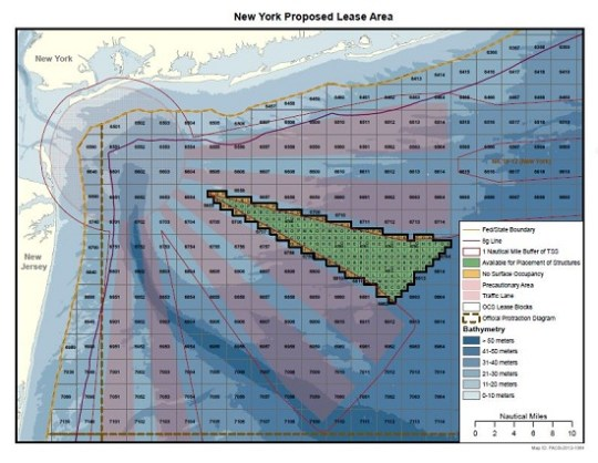 Board Of Ocean Energy Management(BOEM) map for the proposed NYPA (LIPA  and Con ED) plan for a Long Island-New York City offshore wind farm approximately 12 Miles offshore.